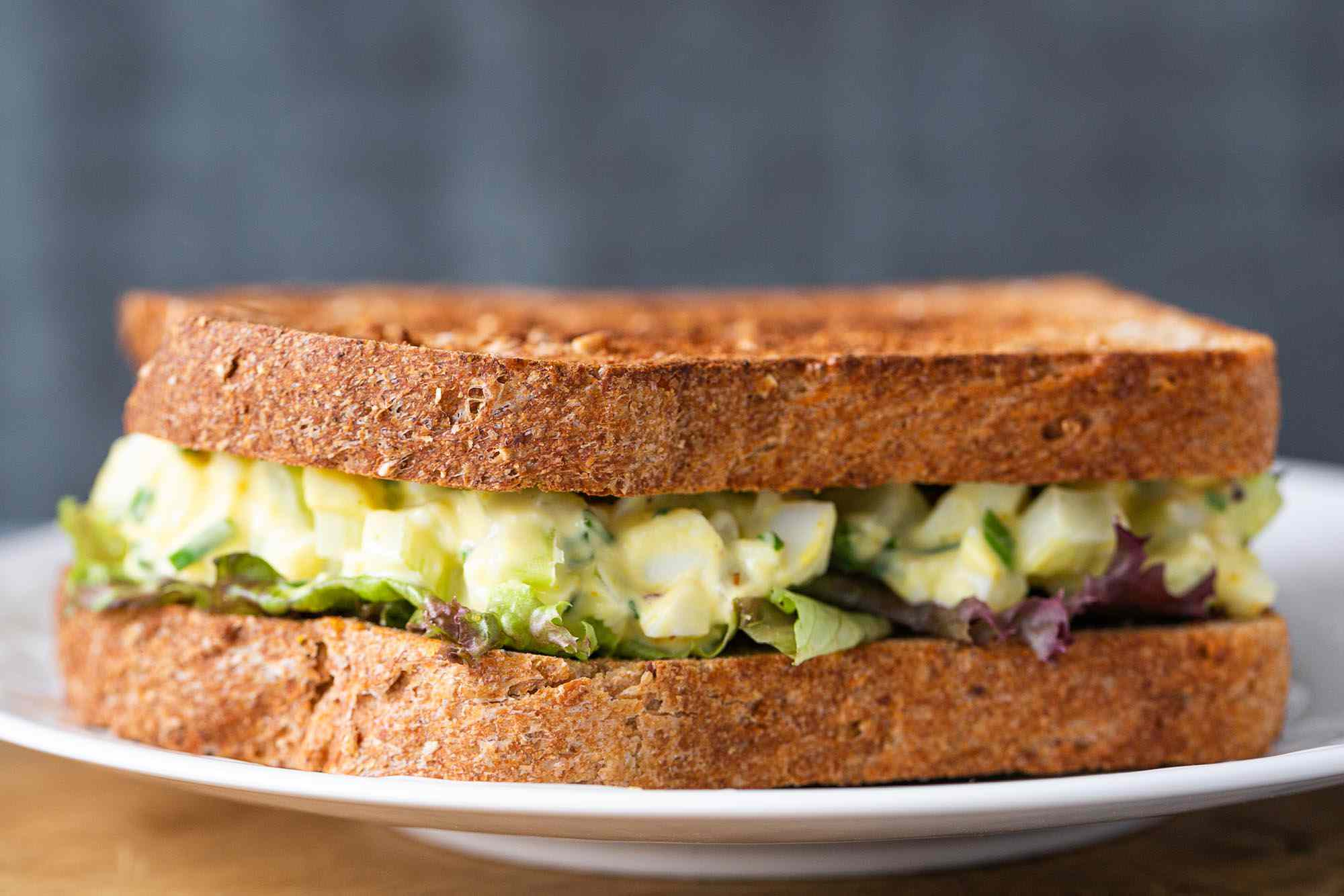 Best ever egg salad sandwich on a plate