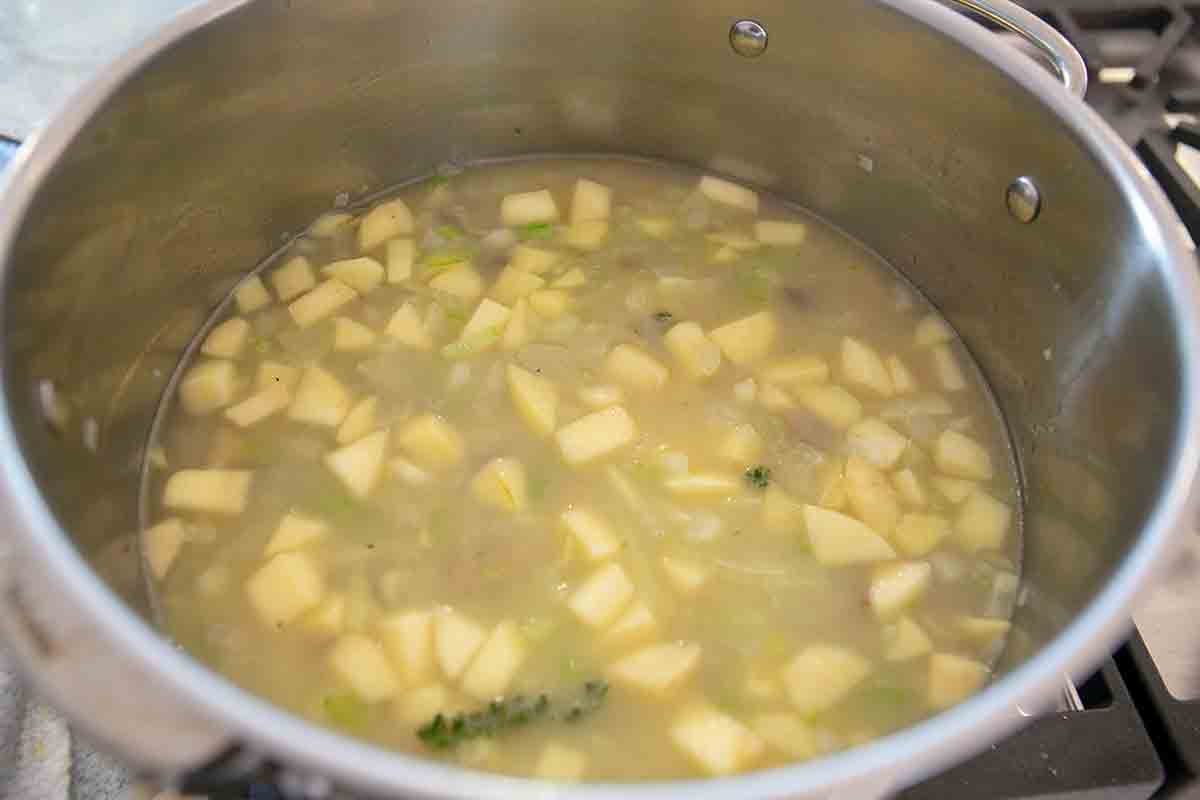 add stock to chestnut soup
