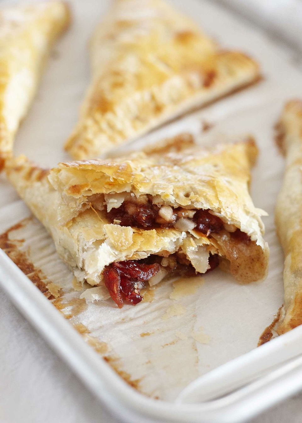 Turnover recipe using puff pastry shows the apple filling.