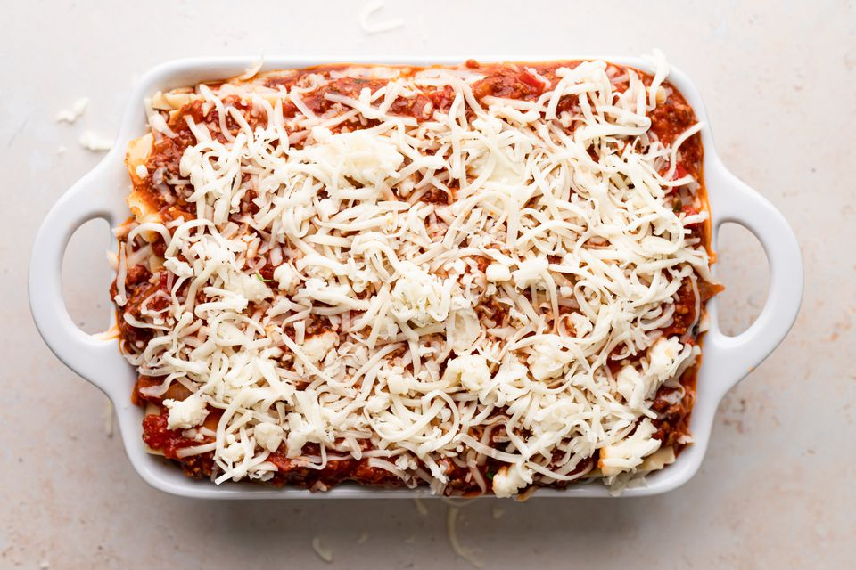 Overhead view of an easy lasagna recipe ready to be baked.