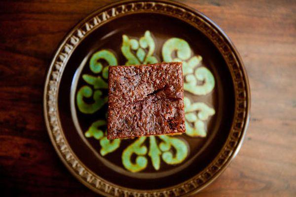 Single Piece of Gingerbread Cake on Decorative Plate