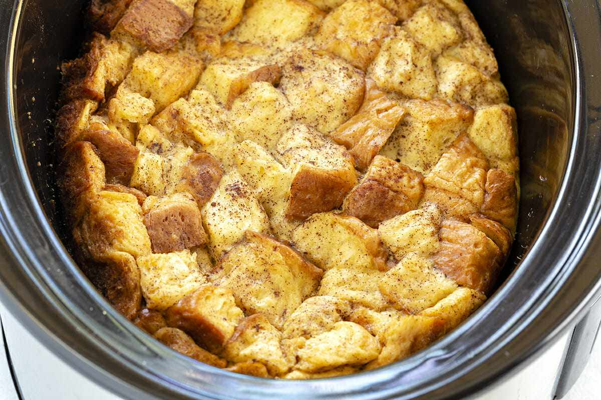 Overnight French Toast Casserole - bread in slow cooker