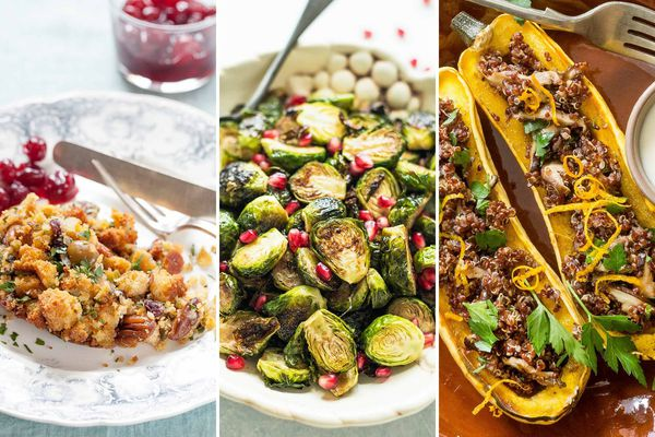 Three images side by side. On the left is a plate of Cornbread Stuffing with Green Olives and Pecans. In the center is a serving platter of Roasted Brussels Sprouts with Pomegranate-Balsamic Glaze. On the right is Stuffed Delicata Squash with Quinoa and Mushrooms.
