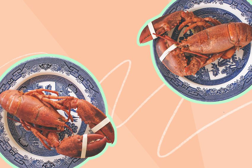 Photo composite of whole cooked lobsters on plates
