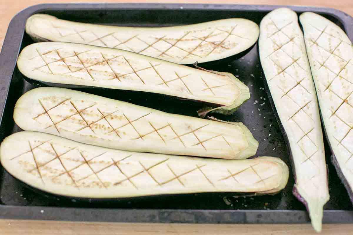 prepped scored salted japanese eggplant