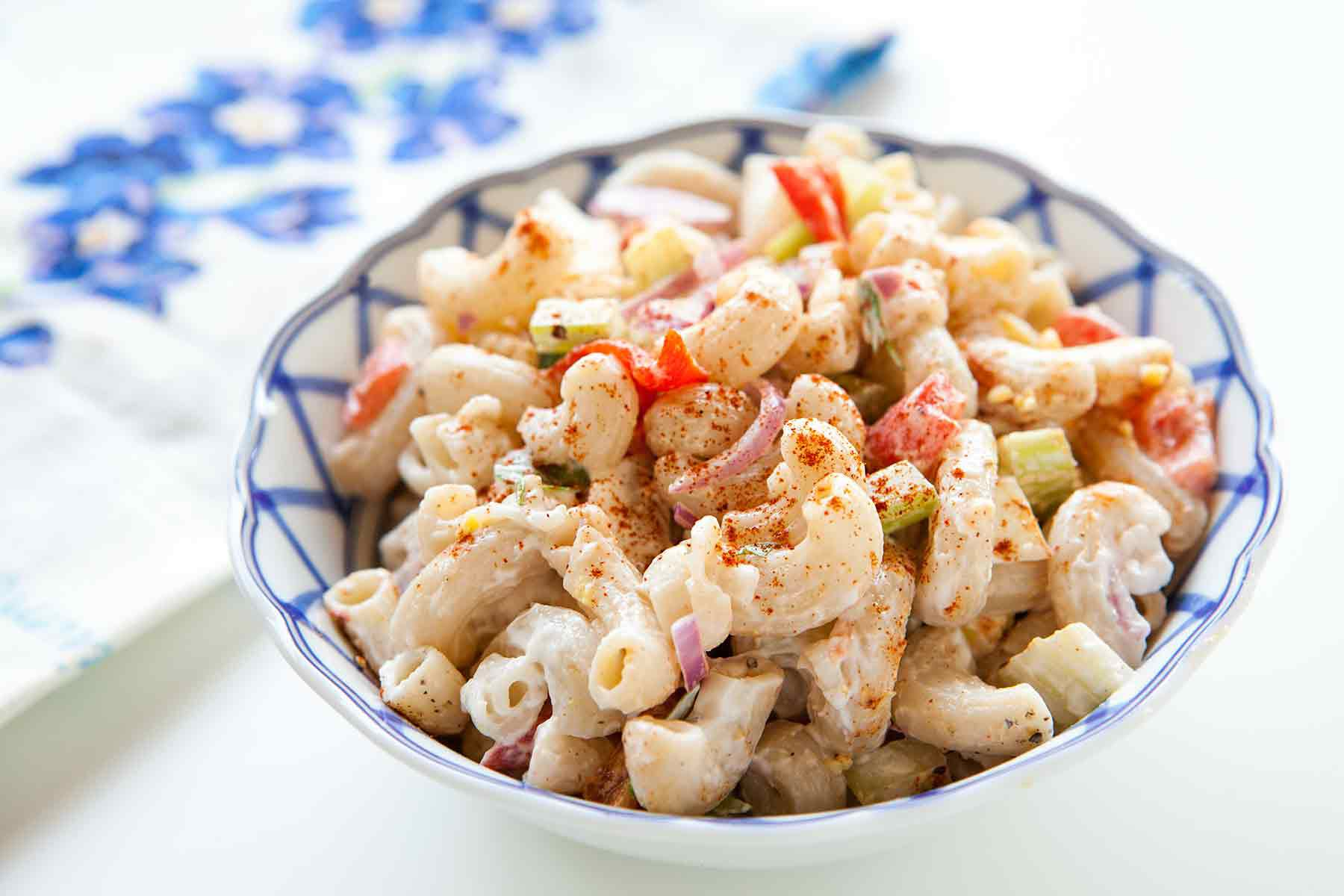 Easy Macaroni Salad Recipe in a bowl for serving