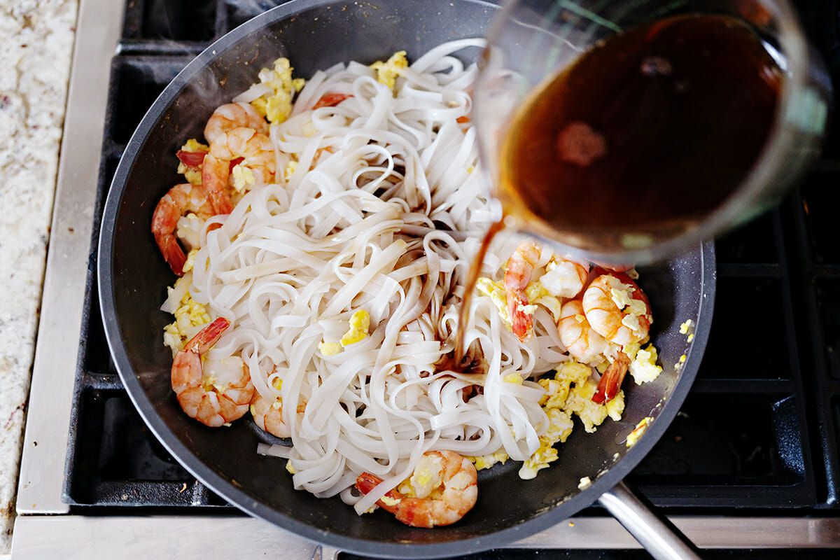 Easy Pad Thai Recipe add the noodles to the pan