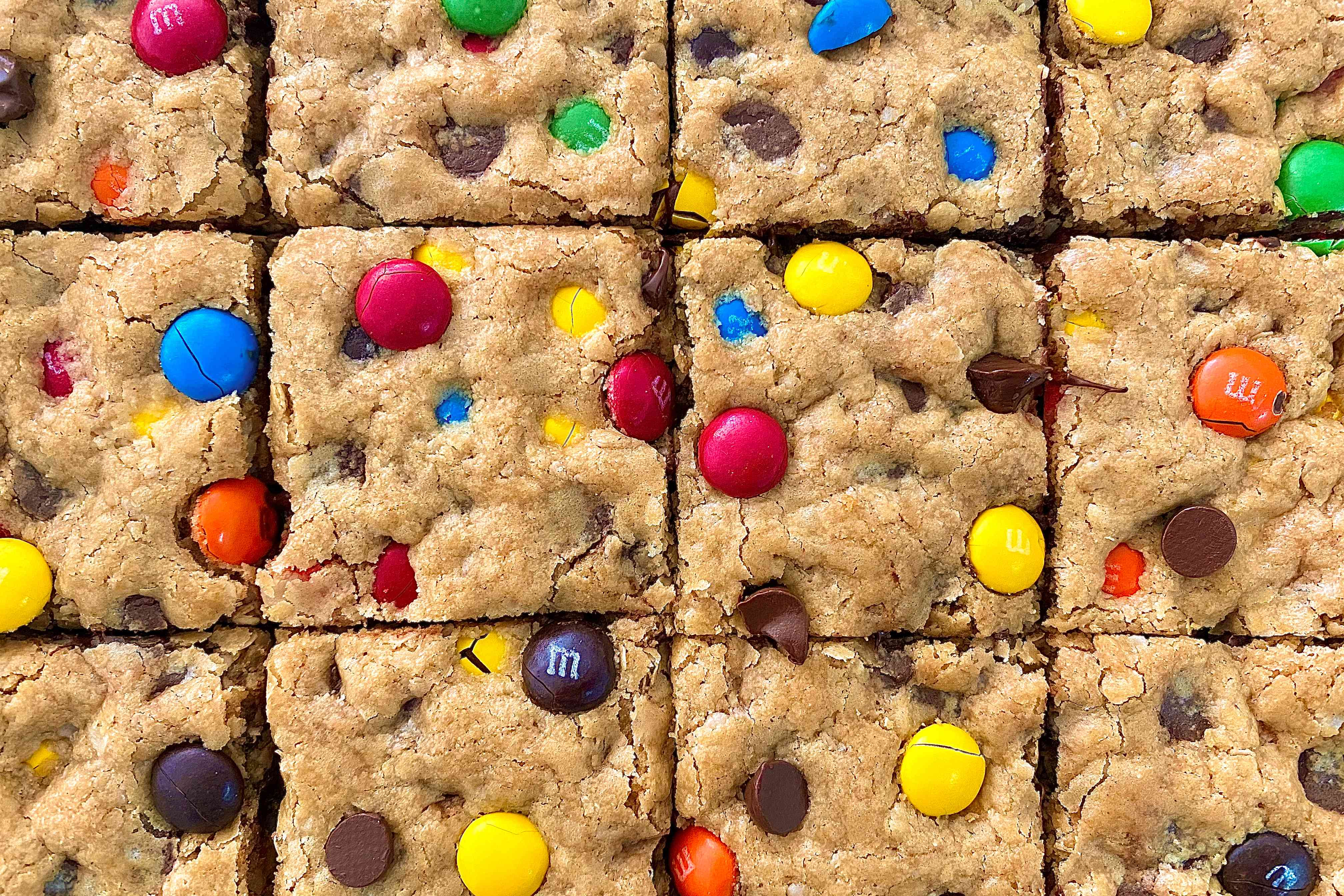 Close up of an overhead view of Bar Cookies of the Gluten Free Monster Variety.