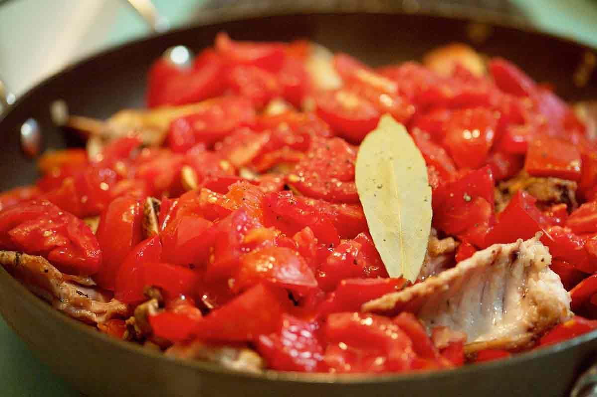 add tomatoes for the rabbit cacciatore