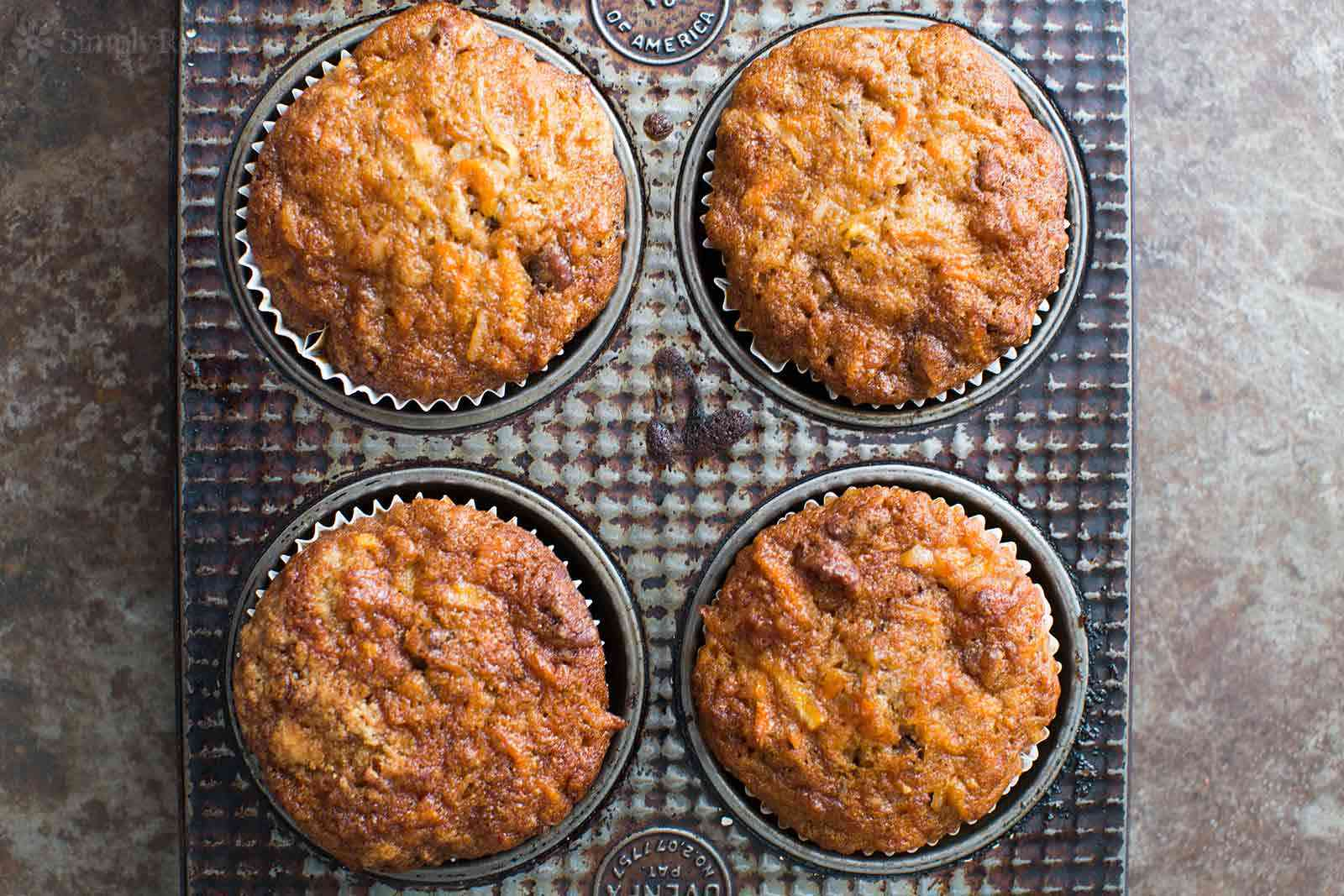 Apple Carrot Cupcakes in baking tin
