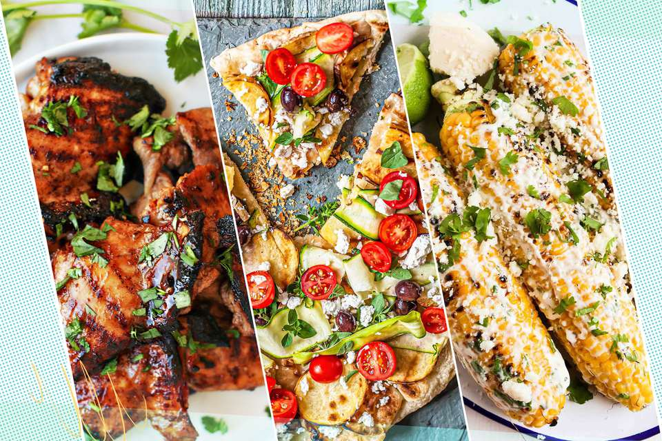 Three grilling recipes pictured side by side.