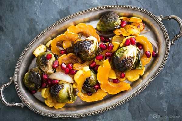 Maple Glazed Delicata Squash and Brussels Sprouts