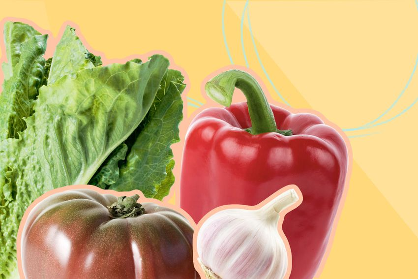 Photo composite of fresh lettuce, an heirloom tomato, a red bell pepper and a head of garlic