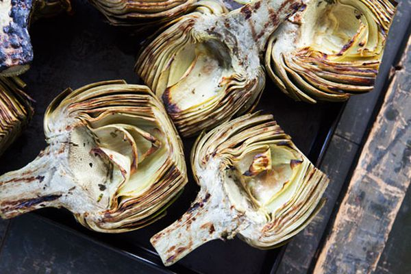 Grilled artichokes on a surface
