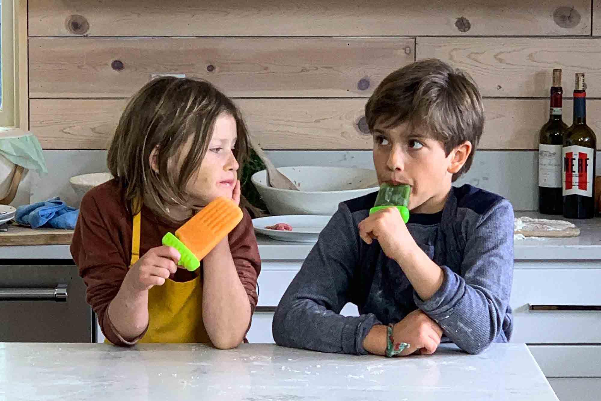 Misha Collins' kids eating popsicles