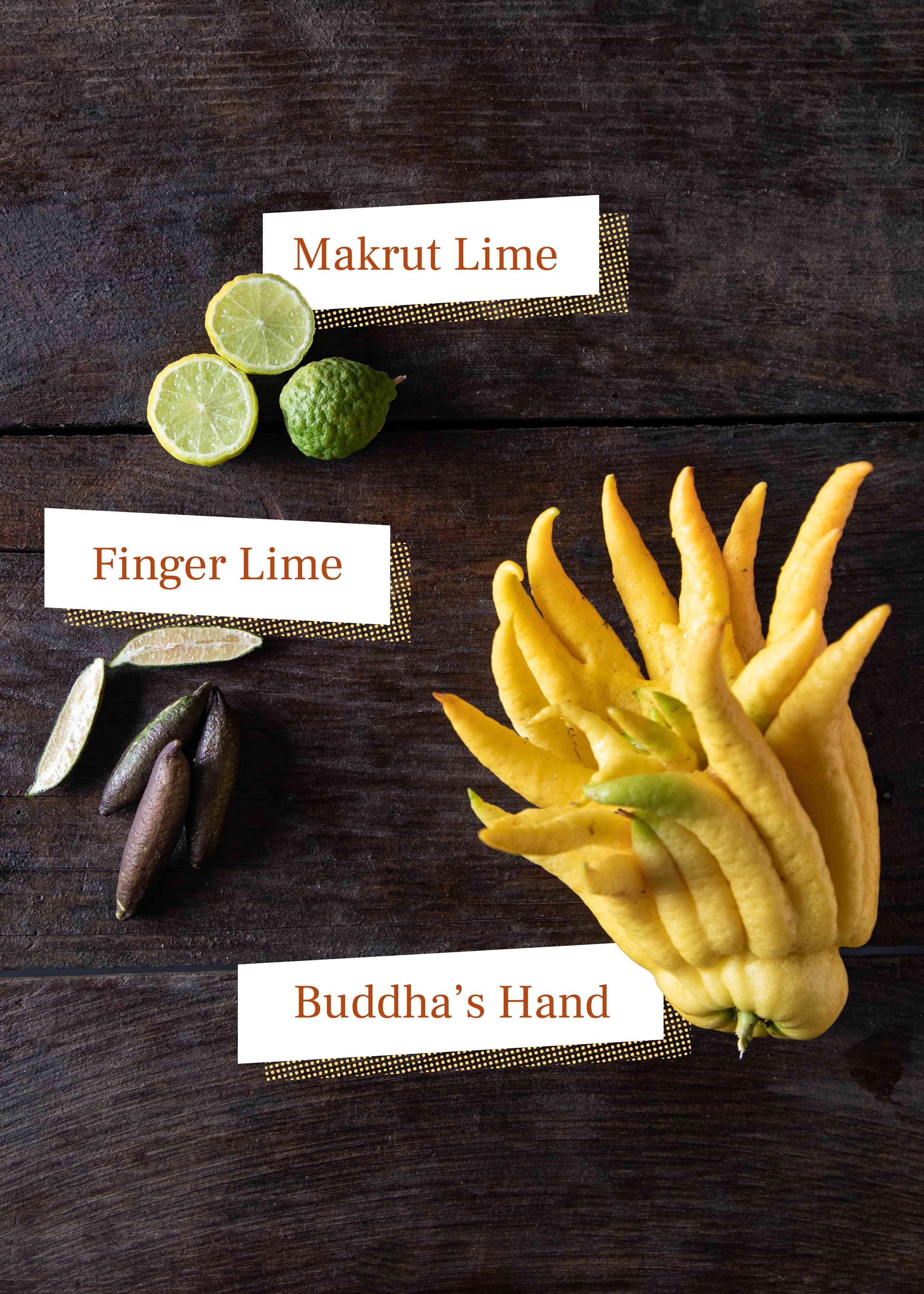 Market lime, finger lime, buddha's hand citrus on dark background