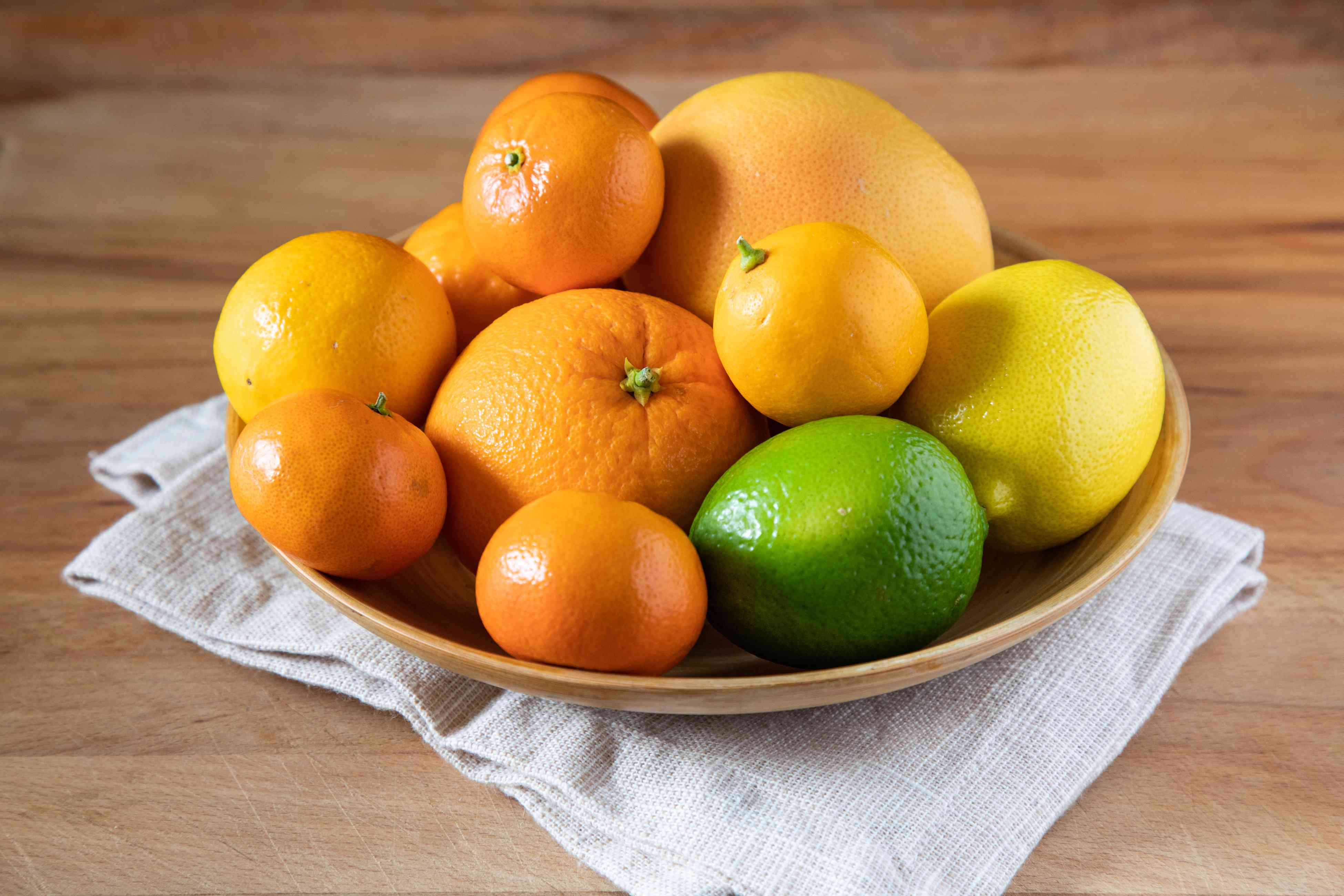 Citrus in a bowl on a wooden countertop
