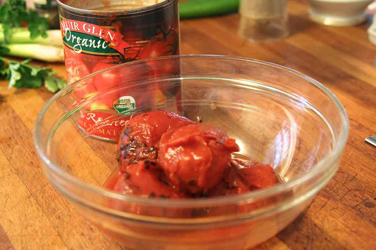 use canned fire roasted tomatoes for the salsa
