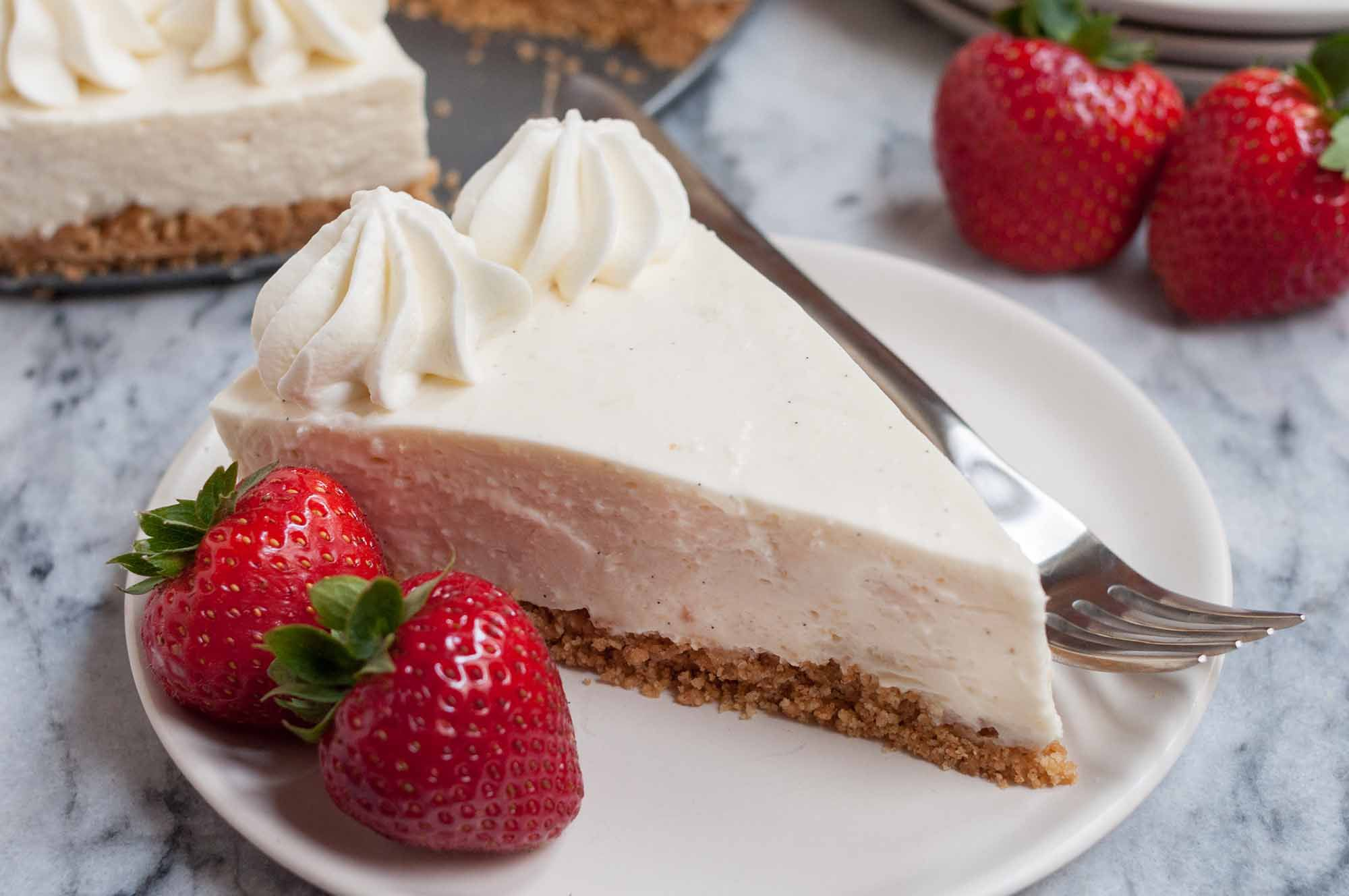 No Bake Cheesecake made with easy no bake cheesecake filling and graham cracker crust