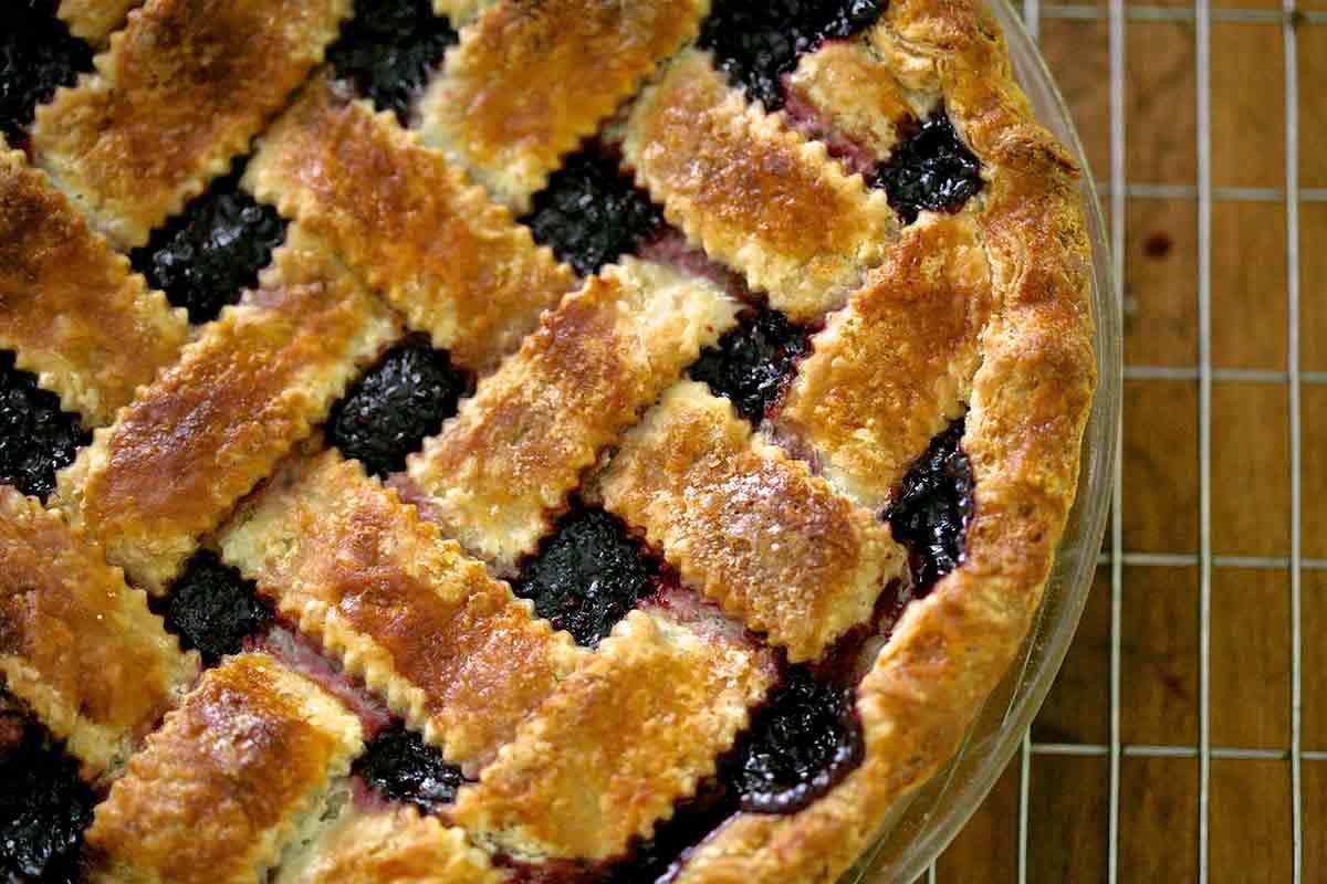 Baked homemade boysenberry pie
