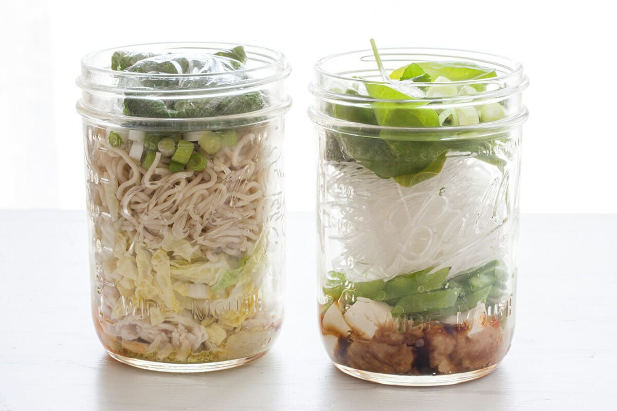 Homemade Ramen Noodle Cups add the noodles and scallions and spinach