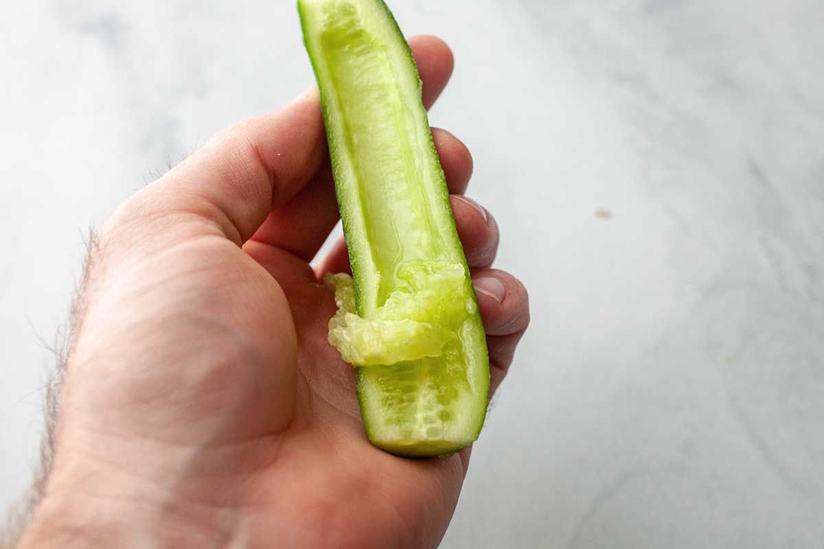 Best Grilled Salmon Recipe - seeding a cucumber