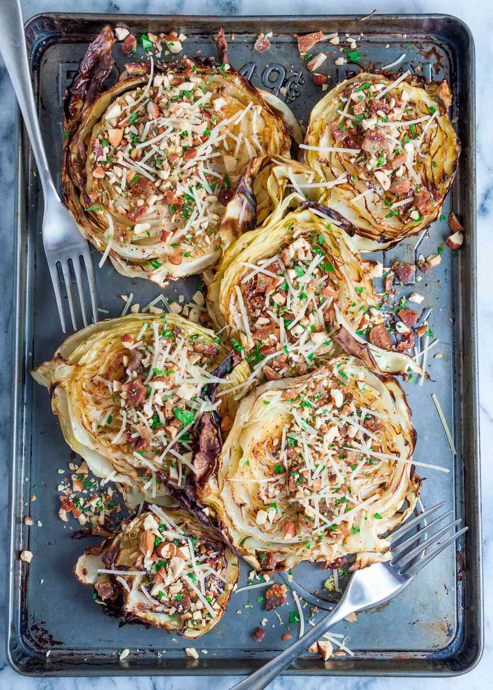 Roasted Cabbage with Bacon Gremolata