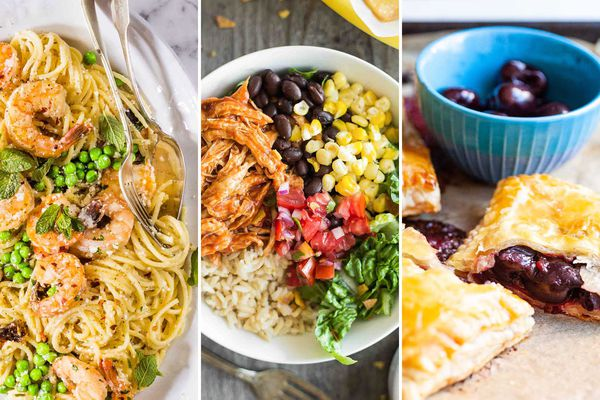 Three photos from left to right. Shrimp scampi swirled with mint and peas in a white bowl. A fork and spoon are set on the right side of the bowl. BBQ chicken burrito bowl is in the center. Each ingredient is in its own section of the bowl. Clockwise: black beans, yellow corn kernals, romaine lettuce, rice and shredded bbq chicken. Chopped tomatoes are in the center of the bowl. The last image is of cherry hand pies. Saucy cherries are viewable inside the pie and a blue bowl with cherries are behind the hand pies.