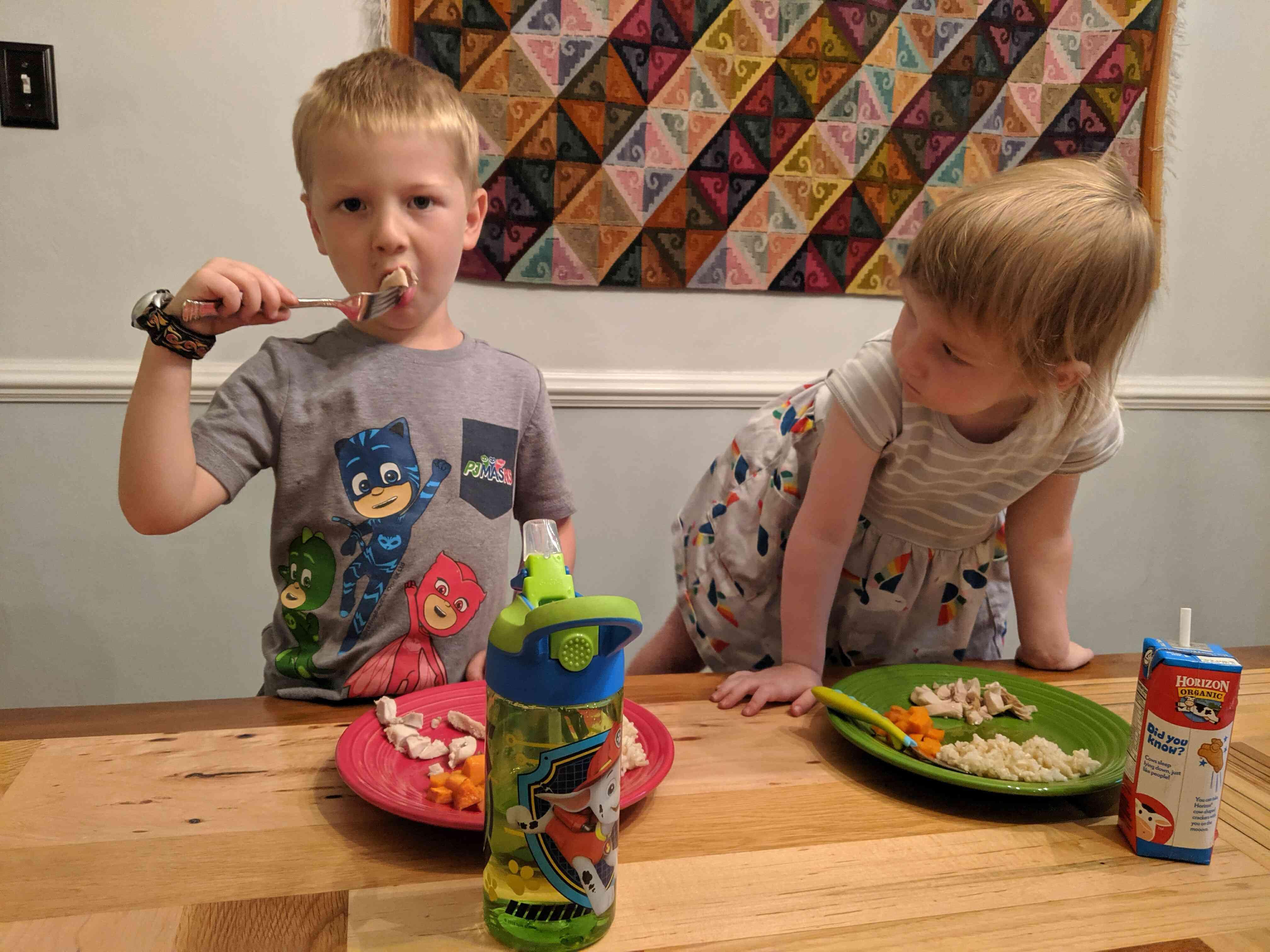 Kids try cider-braised chicken thighs
