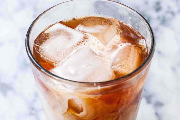 Easy cold brew with milk in a tall glass