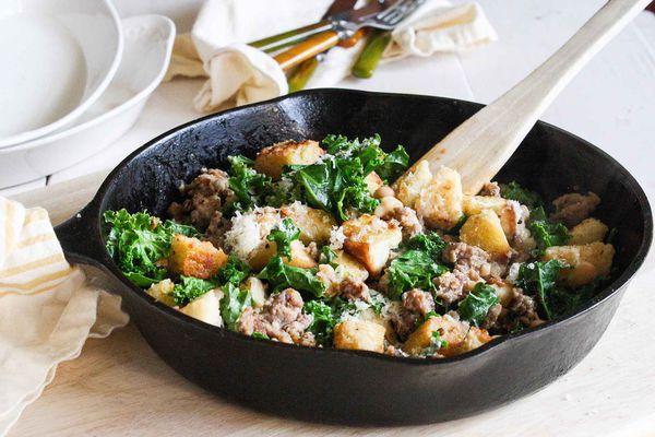 Quick Sausage, Kale, and Crouton Saute