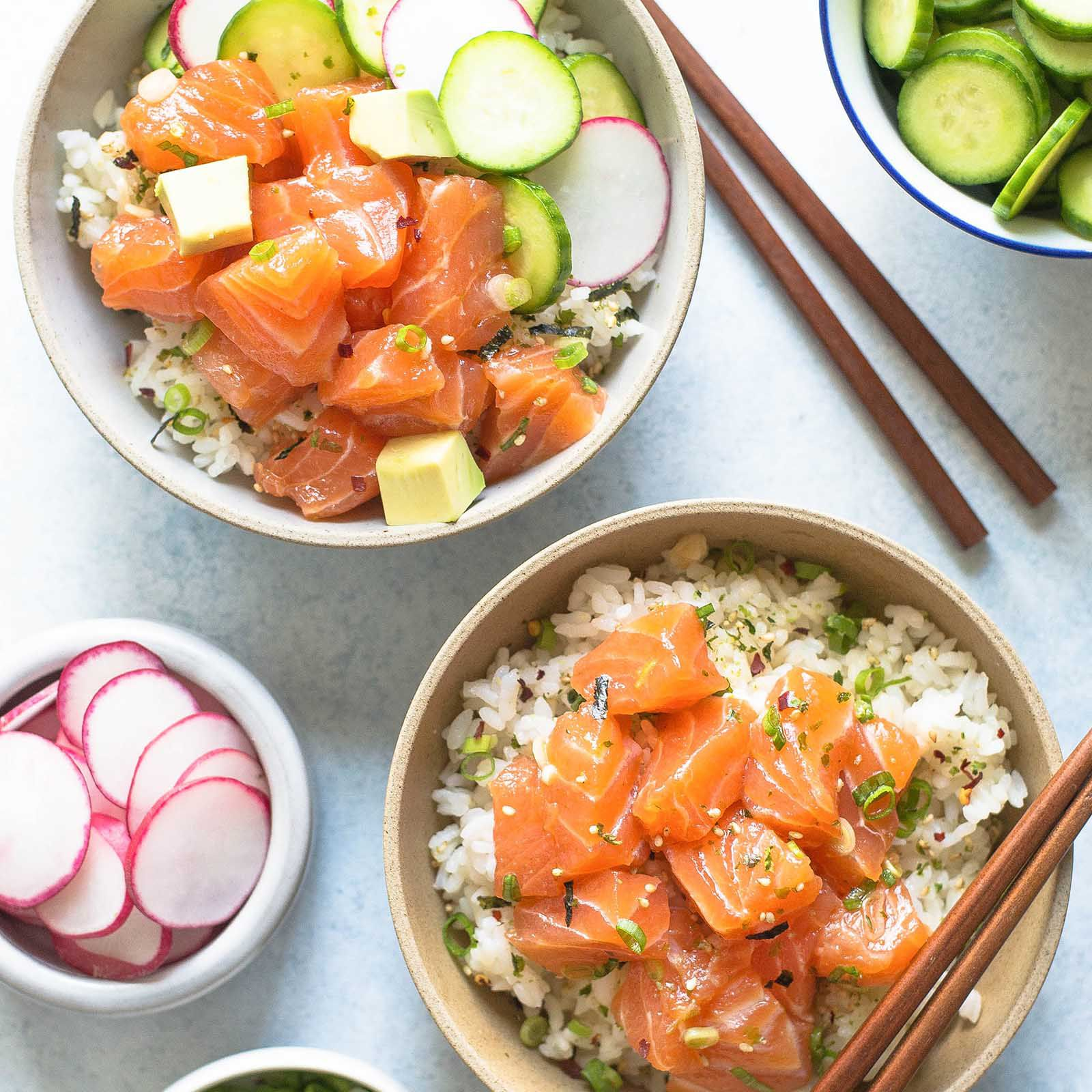 Salmon Avocado Poke Bowl Recipe