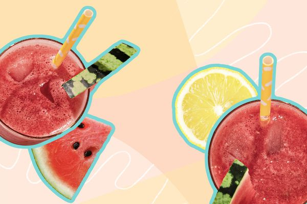 Photo composite of smoothies and sliced fruit