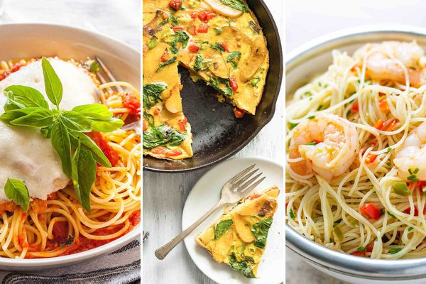 A triptych with pasta, a fritatta and shrimp pasta