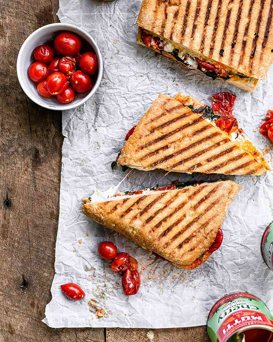 Mutti canned cherry tomatoes on panini