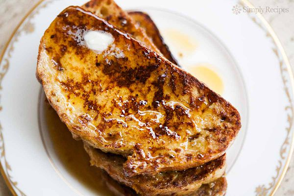 Easy French Toast on plate with butter and syrup