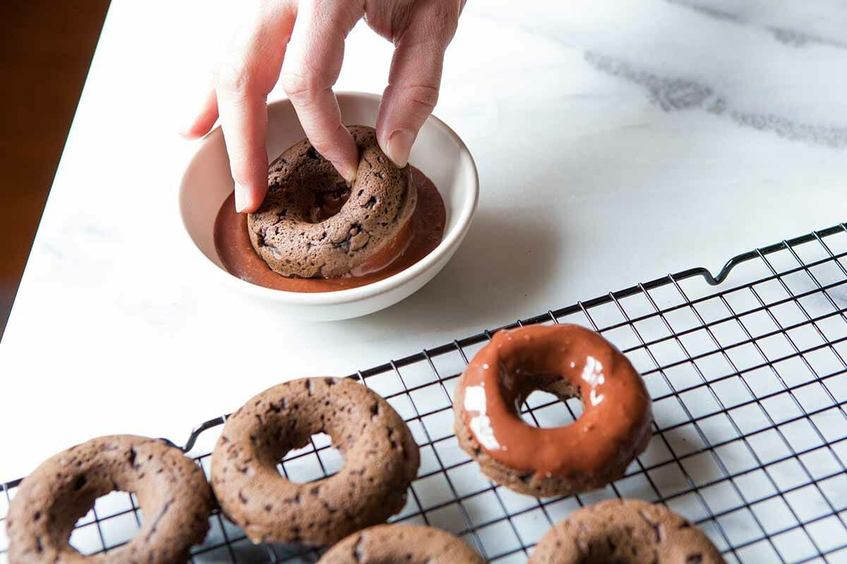 Vegan Gluten-Free Doughnut Recipe glaze the donuts