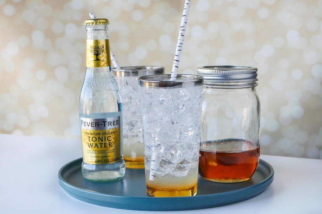 Earl gray bergamot tea and tonic drink