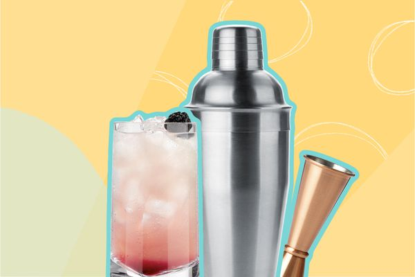 Photo composite of a cocktail in a glass, shaker, and jigger
