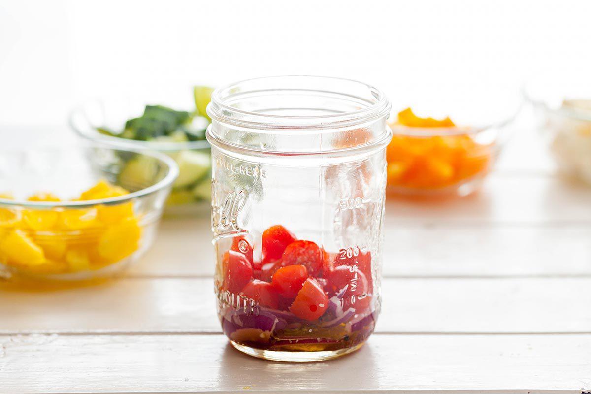 Greek Salad in Jars