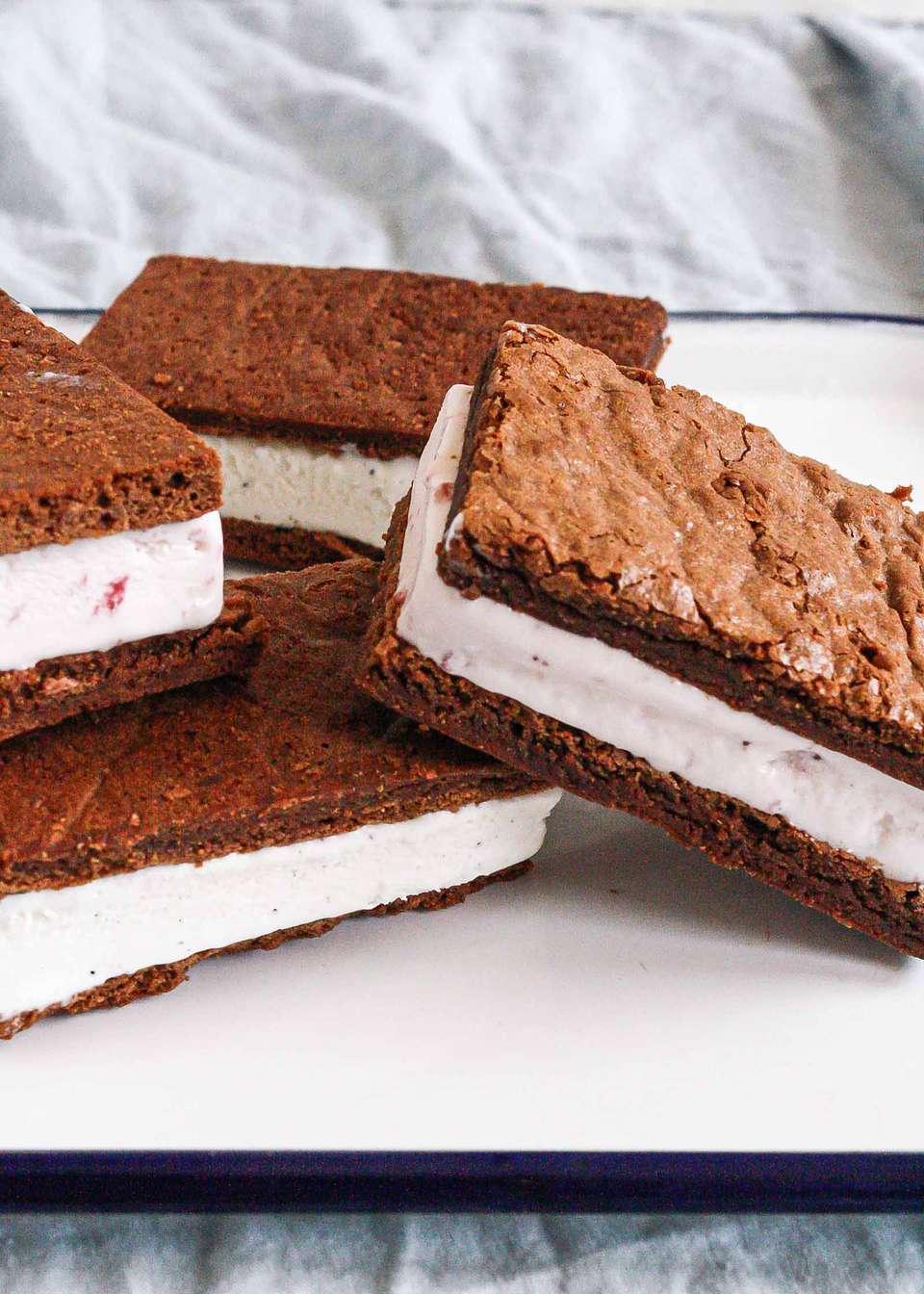 Ice Cream Sandwich Dessert - ice cream sandwiches in a row