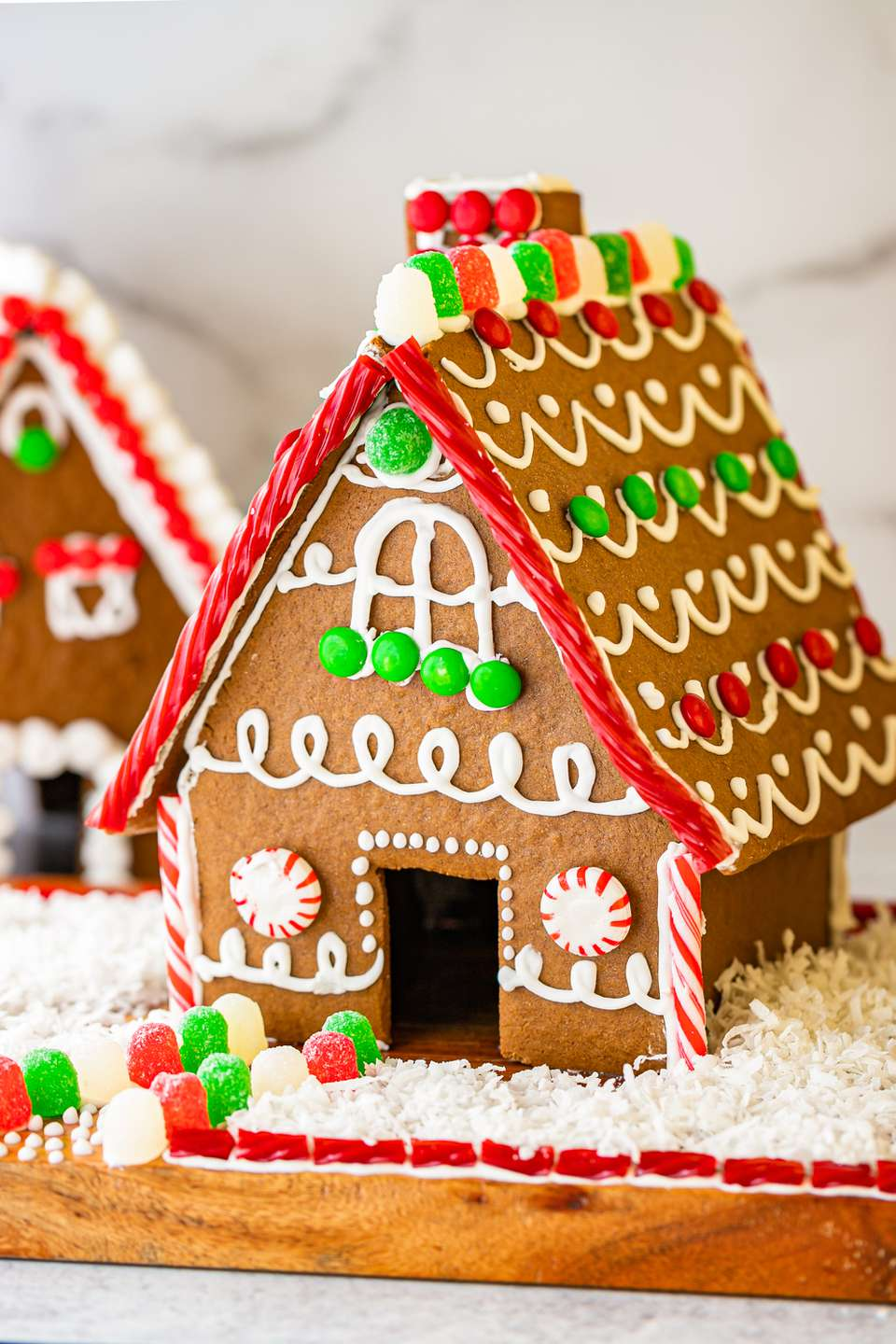 Side view of a gingerbread house.