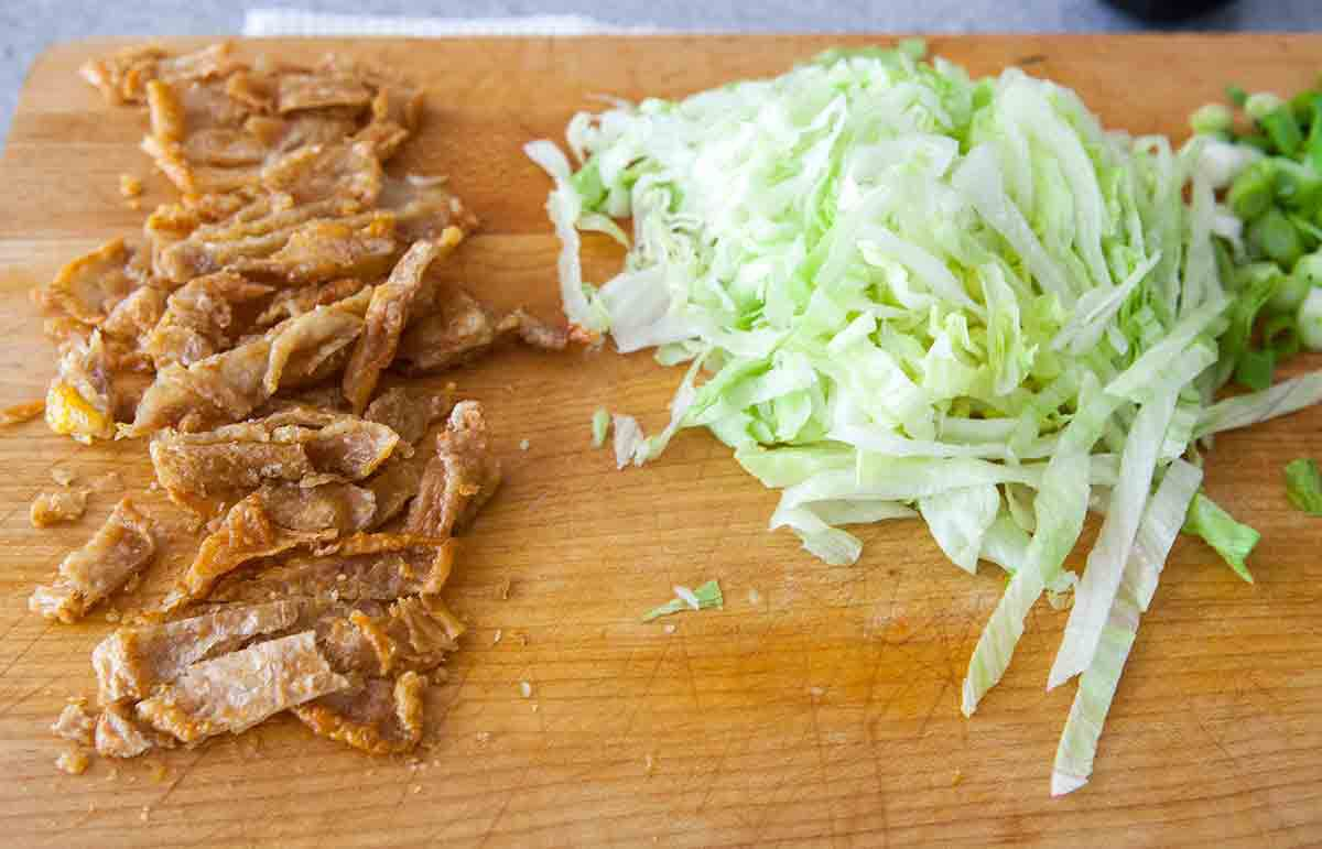 fried chicken skin and lettuce for chicken skin tacos
