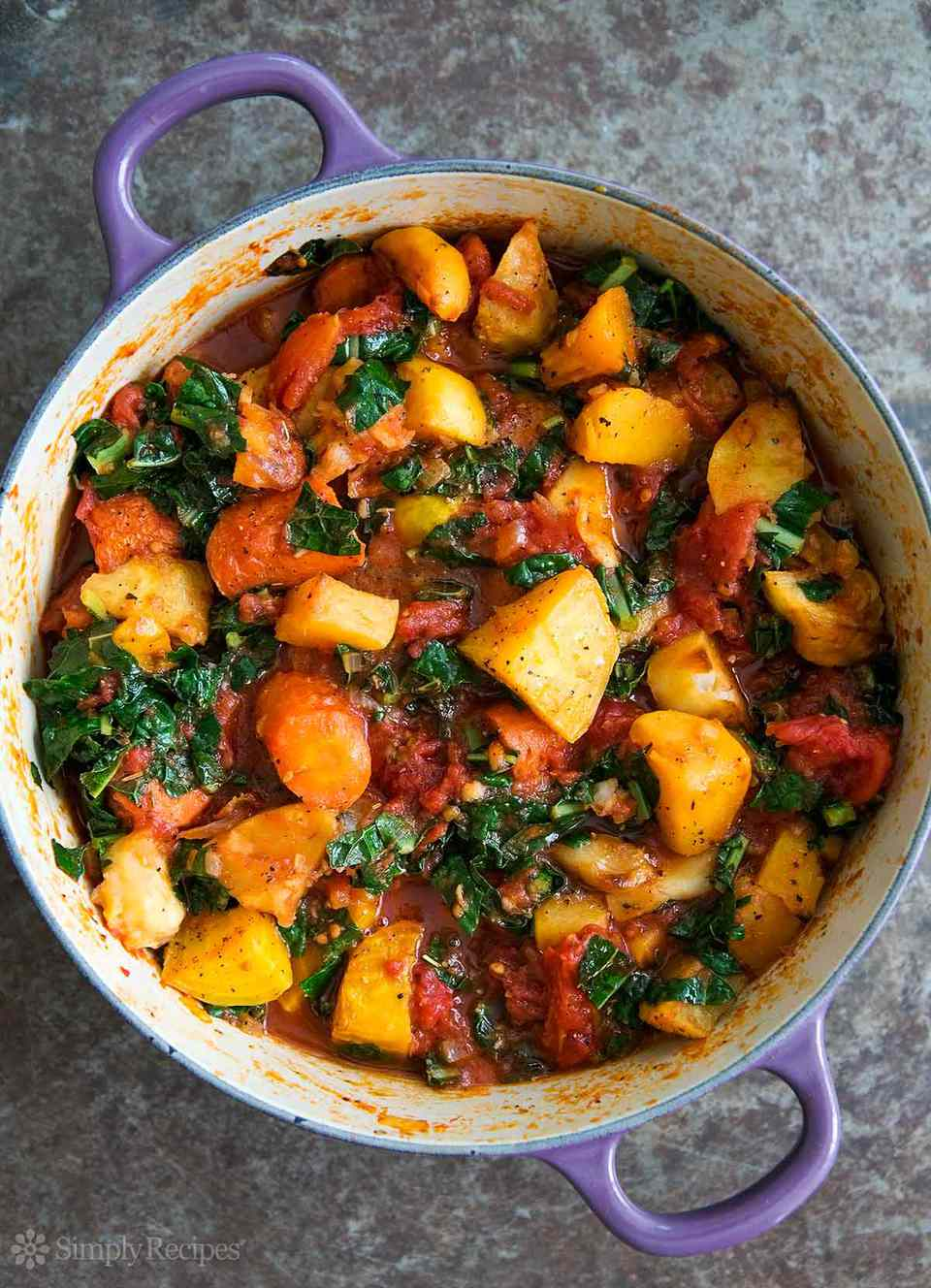 Roasted Root Vegetables with Tomato and Kale