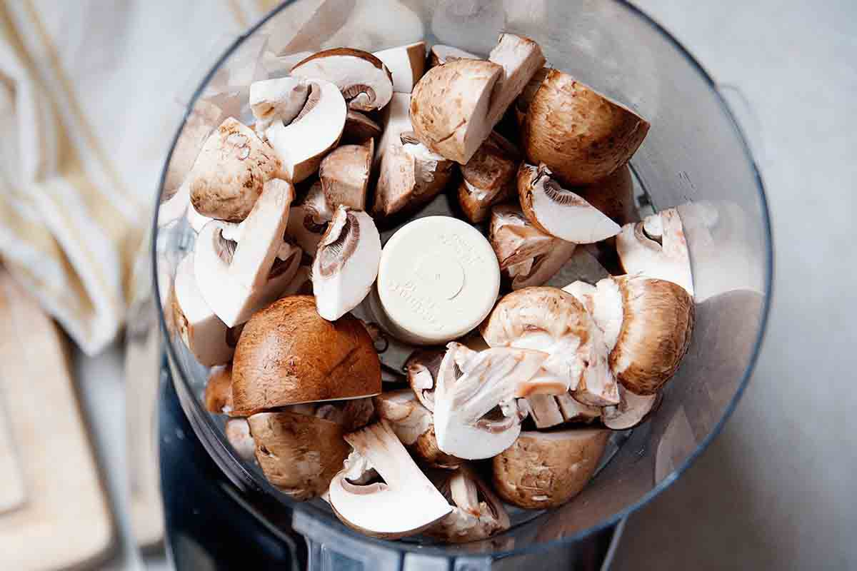 How to Make Vegan Chili load the mushrooms into the food processor