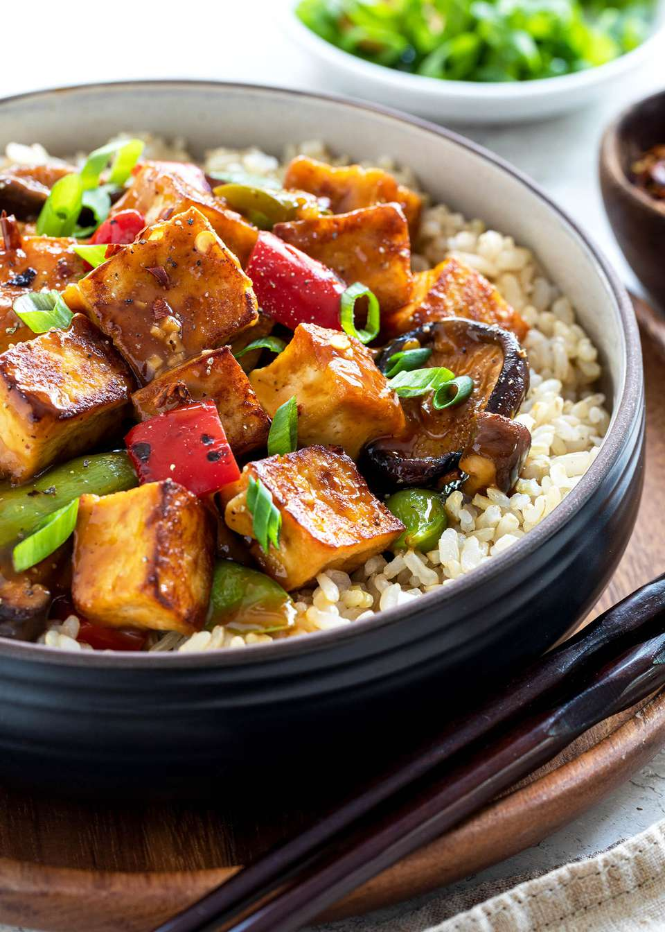 One Pot Vegetarian Stir Fry with tofu served in a bowl.