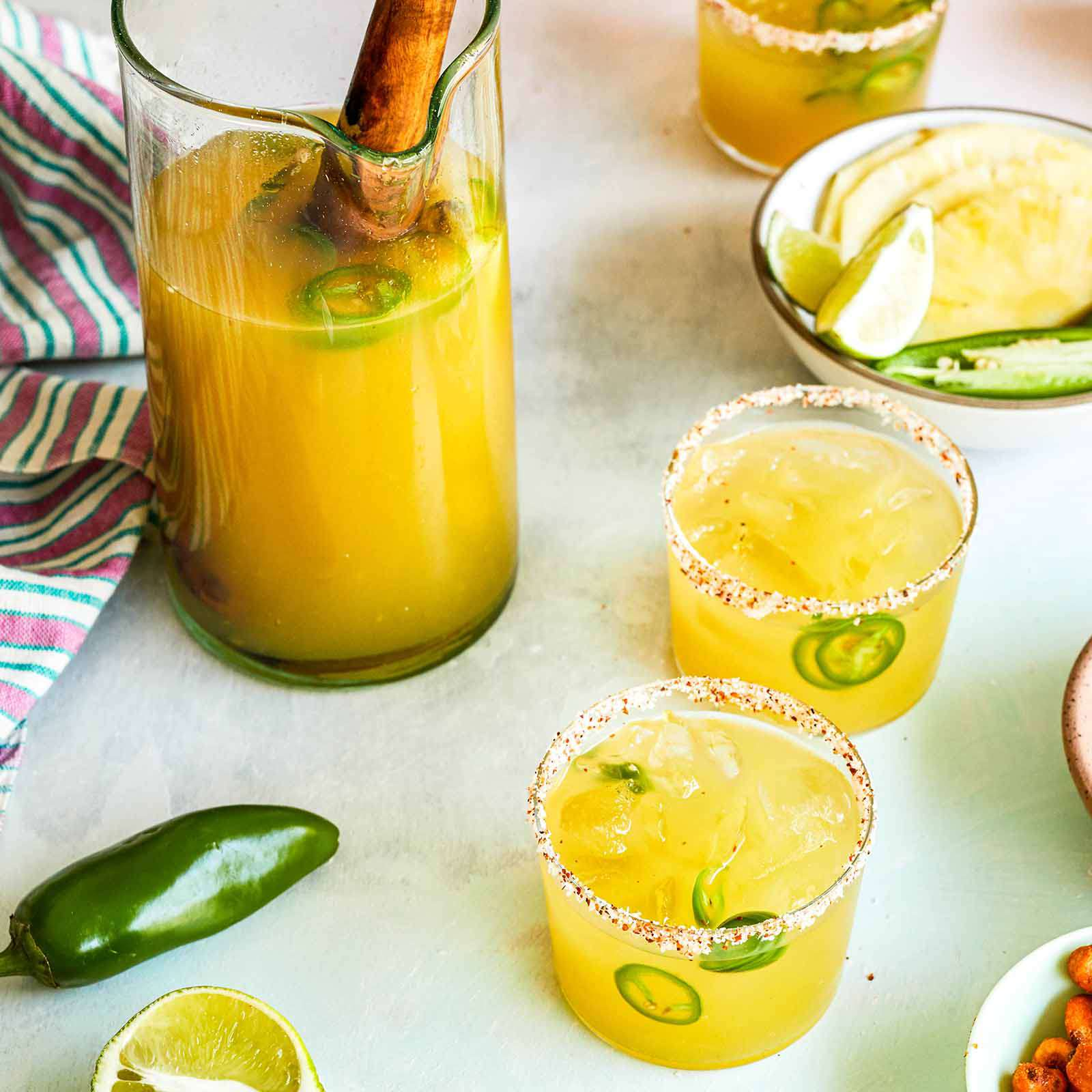 Spicy Pineapple Margaritas for a Crowd