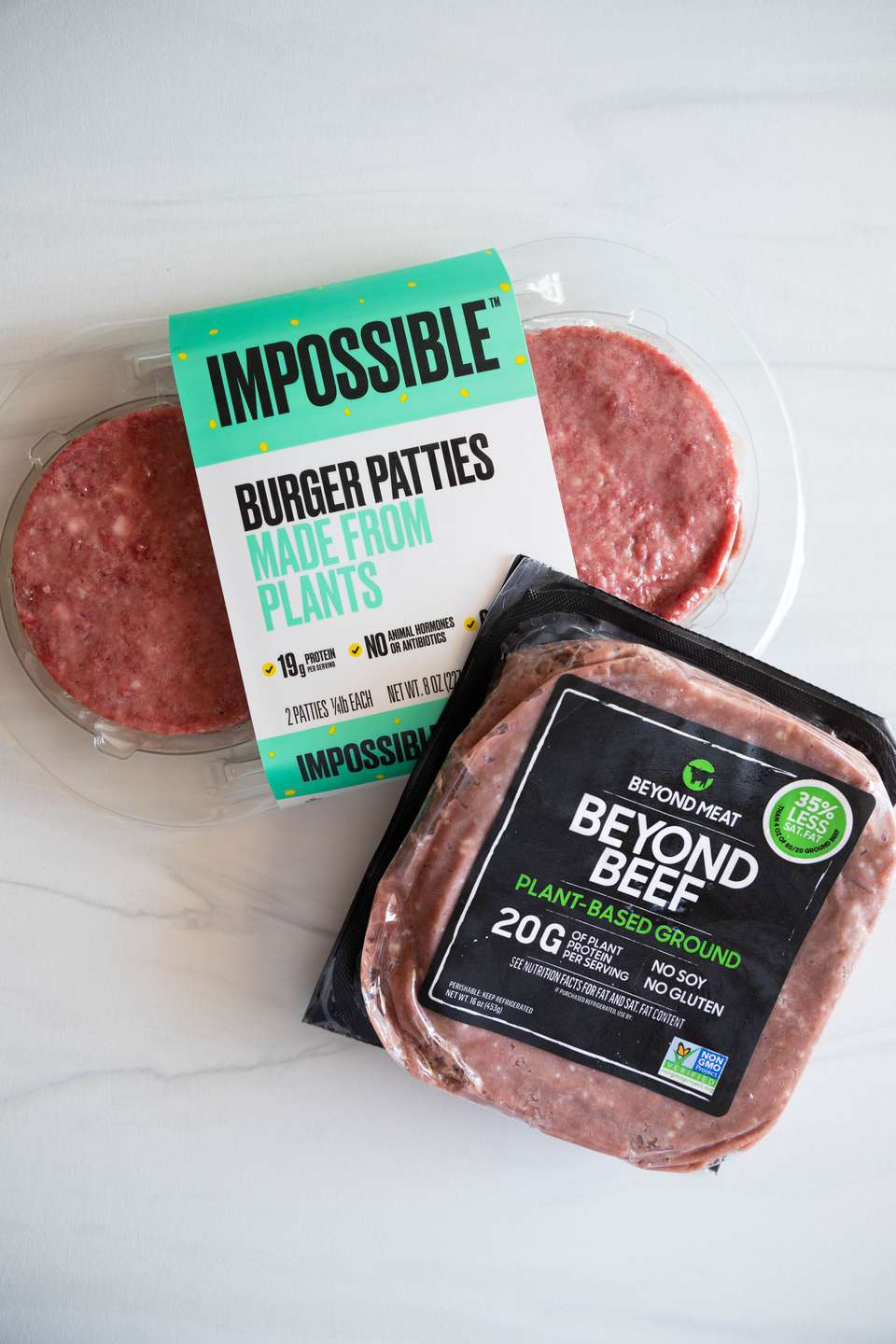 Impossible burger patties and beyond beef