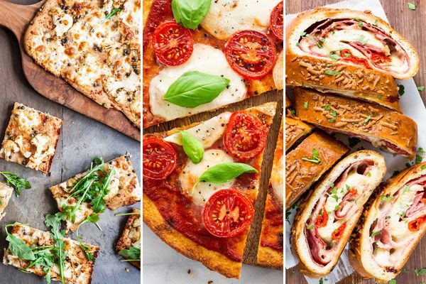 Three pizza images side by side. The photo on the left is a square white pizza on a wooden pizza paddle with some extra slices next to it. The middle image is a couple slices of pizza topped with sliced grape tomatoes, melty mozzarella and basil leaves. The image to the right is of a pizza roll cut into thick slices with melted cheese and thinly sliced meat visible.