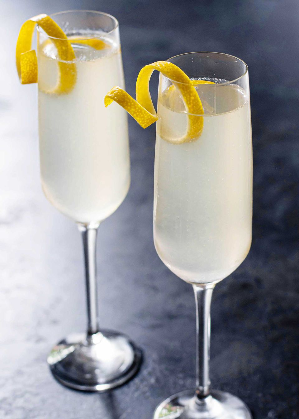 Champagne flute with French 75 brunch cocktail